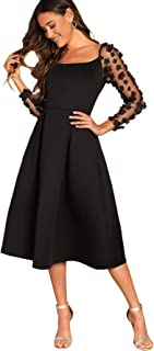 Women's Long Sleeve Sheer Appliques A Line Pleated Midi Dress