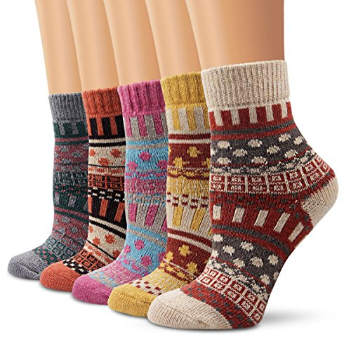 Ambielly Winter Women Socks 5 Pairs Vintage Style Knit Wool Casual Socks Thick Warm Colorful Socks (SD10004E)