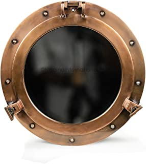 Antique Copper Premium Nautical Maritime Ship's Porthole | Authentic Rustic Appeal Porthole Mirrors & Windows | Nagina Int...