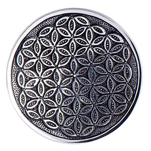 Räucherstäbchenhalter Stäbchenhalter Blume des Lebens Ø 15 cm rund, Weißmetall, Halter zum Räuchern von Räucherstäbchen, Räucherzubehör