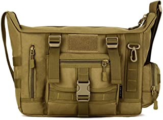 Military Shoulder Bag Large Water Resistant Daypack with Molle 14 Inch Laptop Crossbody Messenger Bag for Hunting Camping Trekking Men Women