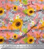 Soimoi Orange Samt Stoff Blätter und Sonnenblumen Blumen-