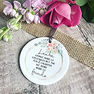 Fhdang Decor Personalised Chance Made us Colleagues Quote Blush Floral Ceramic Round Decoration Ornament Keepsake