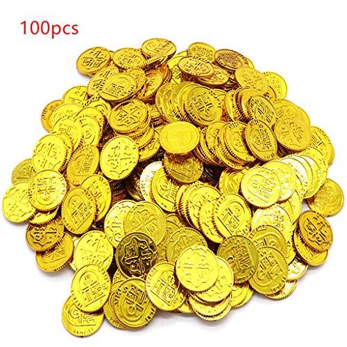 Abcidubxc 100 Stück Poker Casino Chips Münze Vergoldung Kunststoff Spanisches Schatzspiel Poker Chips Spielzeug