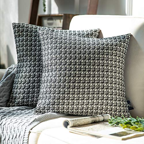 Phantoscope Pack of 2 Classic Woven Textured Geometric Houndstooth Pattern Series Throw Pillow Covers Cushion Case for Couch Bed and Chair, Grey 18 x 18 inches 45 x 45 cm