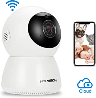 HISVISION Wireless 1080P IP Camera, WiFi Home Security Surveillance Camera Activity Detection Alert Baby/Pet Monitor Nanny Cam, Night Vision/Two-Way Audio with SD Card Slot & Cloud Storage.
