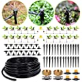 HIRALIY Drip Irrigation Kit Plant Watering System 8x5mm Blank Distribution Tubing DIY Automatic Irrigation Equipment Set for Garden Greenhouse Flower Bed Patio Lawn (45.9, Black)