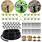 HIRALIY 91.8/28m Drip Irrigation Kits 8x5mm Blank Distribution Tubing Plant Watering System DIY Saving Water Automatic Irrigation Equipment Set for Patio Lawn Garden Greenhouse Flower Bed