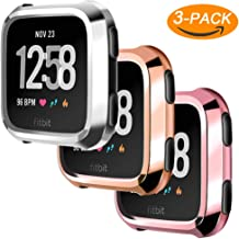 Falandi 3 Packs Screen Protector Case Compatible for Fitbit Versa, Ultra Slim Soft Full Cover Case for Fitbit Versa Face Cover Silver Black Clear (Pink Silver Rose Gold)
