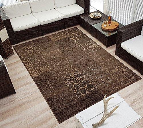 Design Velours Kurzflor Teppich Bombay Patchwork-Look Ornament braun, Größe:160x230 cm