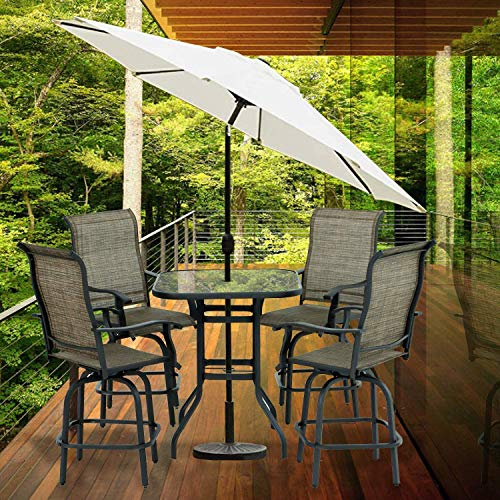 Aoxun Patio 5 PC Swivel Sets Textilene High Bistro Sets, 4 Bar Stools and 1 Table, Brown