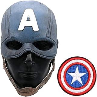 Captain Steve Rogers Latex America Endgame Replica Mask Costume Chris Evans Civil War Winter Soldier Helmet W/Patch Shield