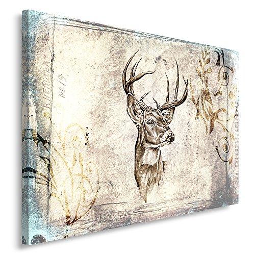 Feeby, Leinwandbild, Bilder, Wand Bild, Wandbilder, Kunstdruck 80x120cm, Hirsch, Muster, Sepia, SKANDINAWISCHER Stil, Vintage