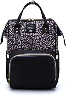 Leopard Print Nappy Bags Handbags Multi-Function Diaper Bag for Baby Care Travel Backpack Large Capacity Purple