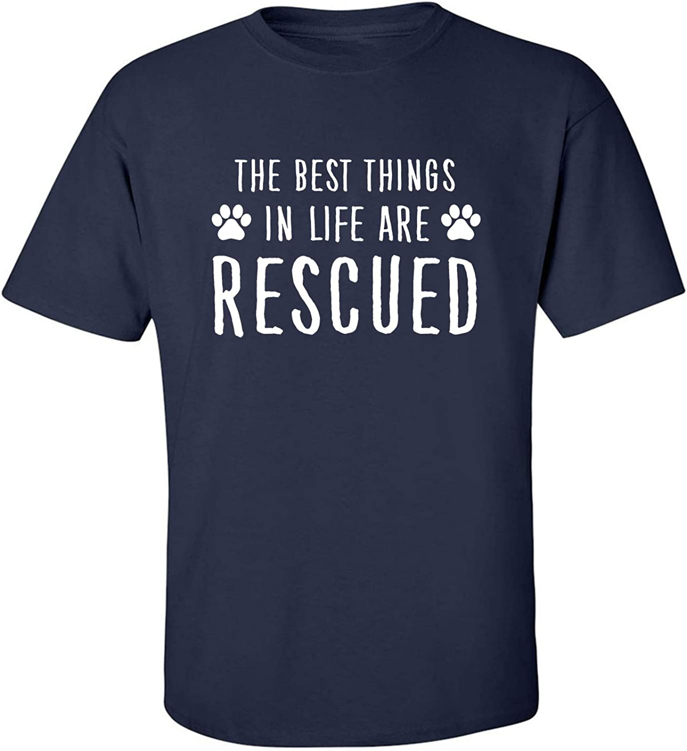 Best Things in Life are Rescued Adult T-Shirt in Navy - XXXXX-Large