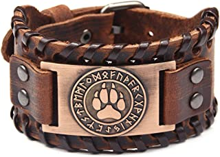 Viking Wolf Bear Paw Norse 24 Runes Leather Bracelet for Men Vintage Punk Fashion Jewelry