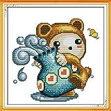 Kit de punto de cruz para adultos-DIY Cross Stitch estampado costura patrón de bordado Imágenes regalo-11CT Lienzo preimpreso- Acuario bebé oso