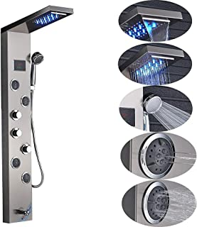 GTYUF-K Shower Panel Tower System, LED Rainfall Waterfall Shower Panel Kit, Hand Shower + Tub Spout+ 4 Adjustable Massage Body Jets+Temprature Display, Brushed Nickle.