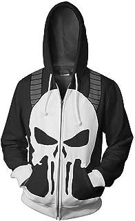 Punisher Hoodie Stylish Sweatshirt Skull Pattern Cosplay Zipper Jacket Warm Coat