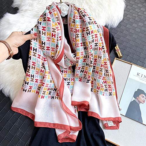 WLLLO Bufanda de algodón y lino bufanda larga estampada cálida versión coreana femenina multifunción todo-fósforo-rosa