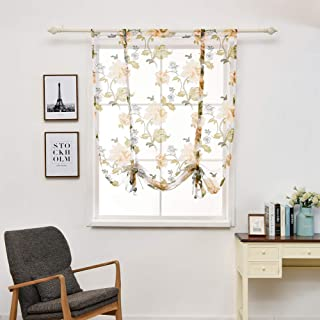 Ocamo Peony Pattern Short Sheer Curtains Sheer Window Elegance Roman Blinds Tulle Curtains for Kitchen Window Door Decoration Yellow 120120cm 80G