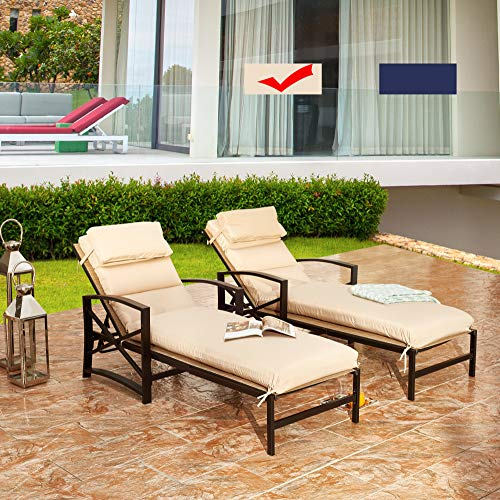 LOKATSE HOME Outdoor Patio Chaise Lounge Chair with Adjustable Backrest and Arms Metal Lounger Furniture All Weather, Khaki