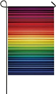 YOLIYANA Abstract Utility Garden Flag,Digital Rainbow Stripes with Gradient Neon Effects Featured Horizontal Bands Print for Home,18″ LX 12″ W