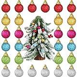 36 Pieces Mini Glitter Christmas Balls Ornaments,1 Inch Multicolor Foam Ball Hanging Decor...