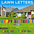 Happy Birthday Lawn Letters Large with Stakes - Birthday Decorations ? Yard Signs with Stakes Spell Happy Birthday! (Includes Personalized Birthday Name Text up to Your Choice of 12 Letters)