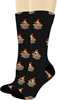 Funny Animal Socks Foxes in Boxes Socks for Fox Lovers Fox Gifts Fox Socks Foxy Novelty Crew Socks