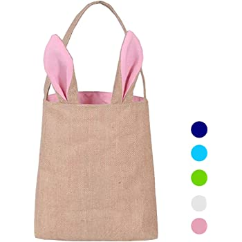 Ochoice Easter Gift Bag Dual Layer Bunny Ears Design Jute Cloth Bag for Party (Pink)