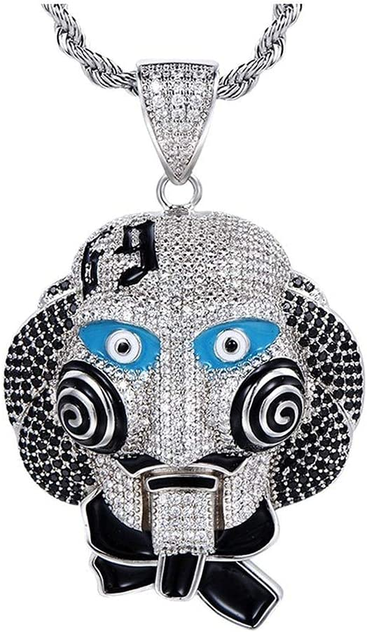 hiphop Max 43% OFF Necklace, Award Iced Out Clown Copper Sa Halloween Pendant 69