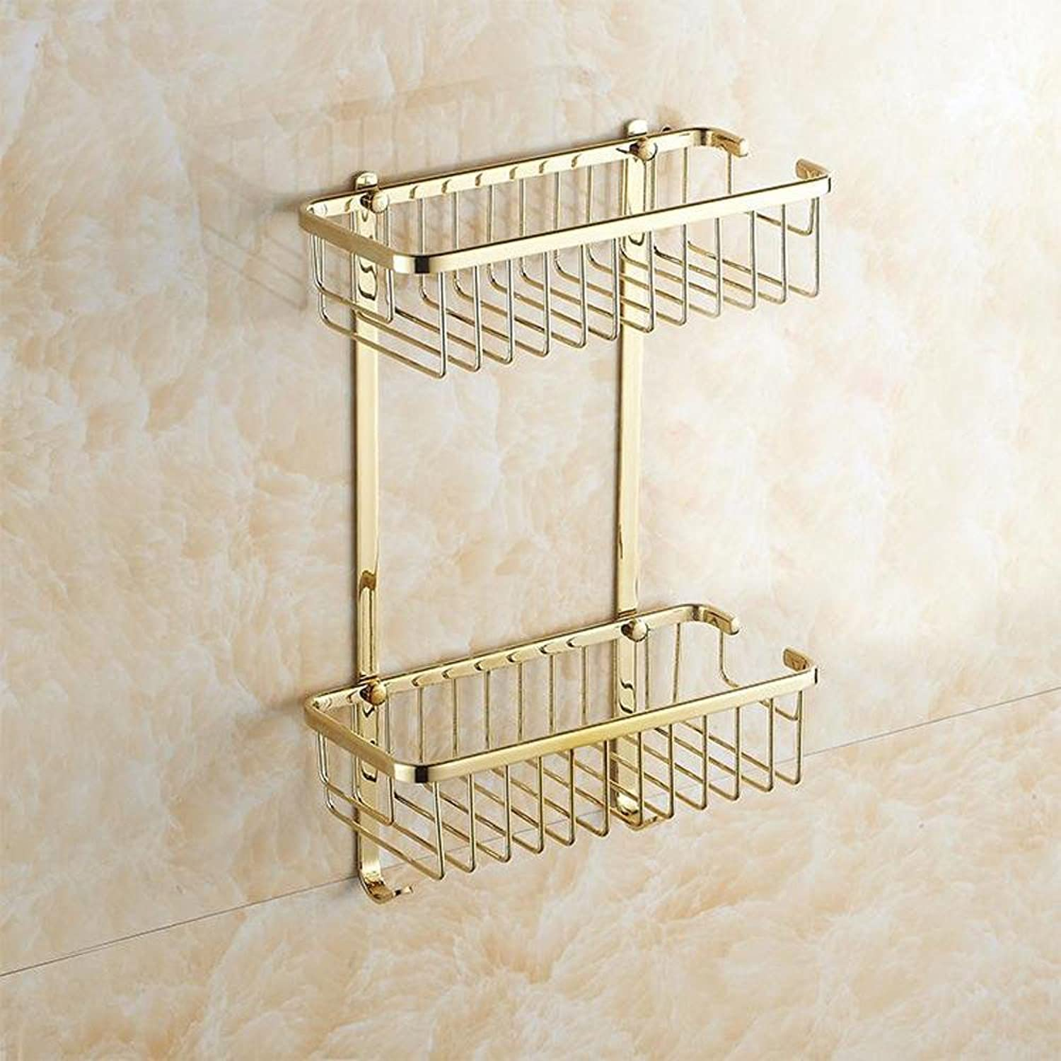 XAH@ Copper and gold rectangular basket with double European-style bathroom rack
