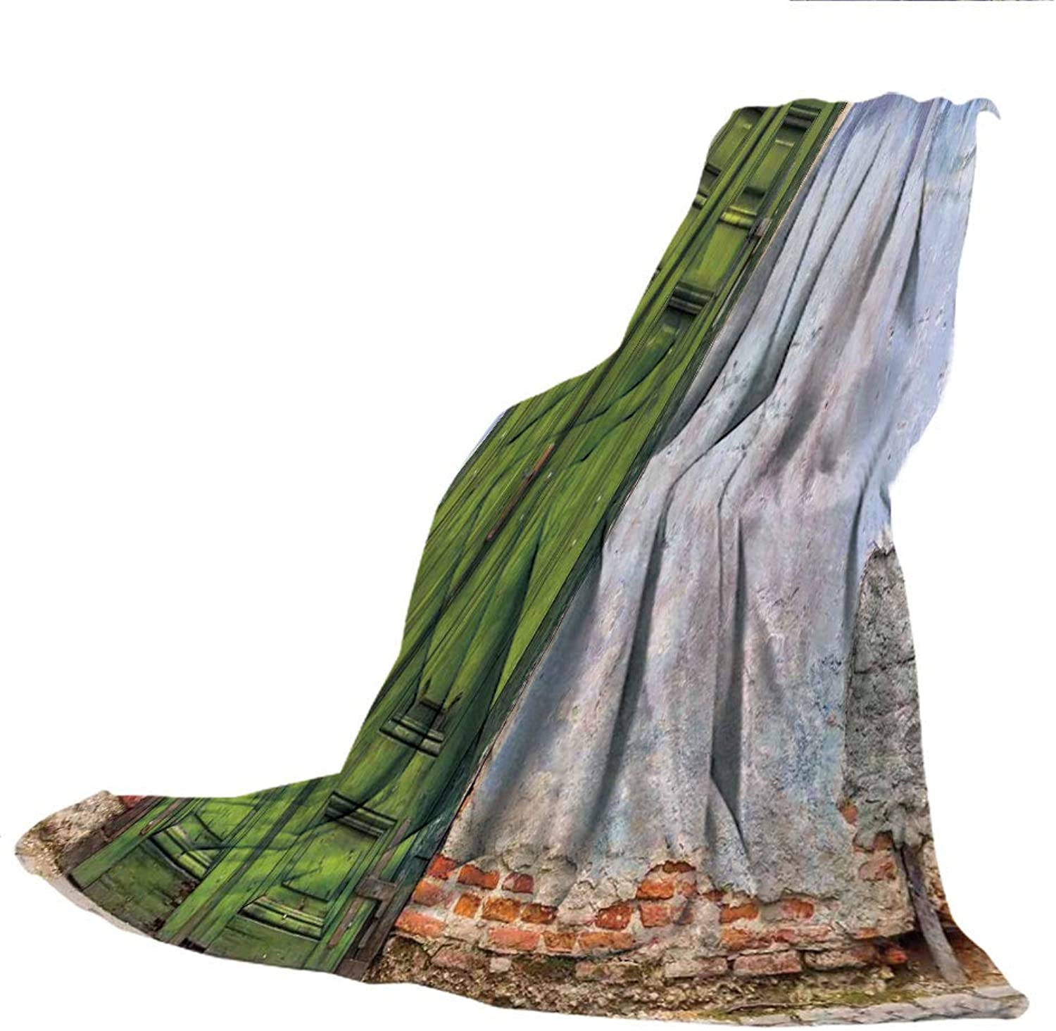 SCOCICI Blanket for Bed Couch Chair Fall Winter Spring Living Room,Rustic Decor,colord House with A Pastel Weathered Rustic Door Old Days Back Then Buildings Photo,bluee Green,59.06  W x 86.62  H