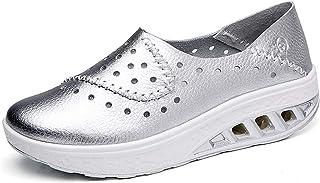 lovejin Femmes Minceur Chaussures de Course Cuir Chaussures de Sport Compensées à Plateforme Fitness Baskets Respirant Sne...
