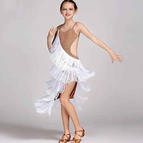Wanson Robe de Danse Latine pour Enfants pour Costume Perforhommece Robes de Compétition Dos Nu V-Cou Gland Danse Latine Tenue Couleur des Sorts