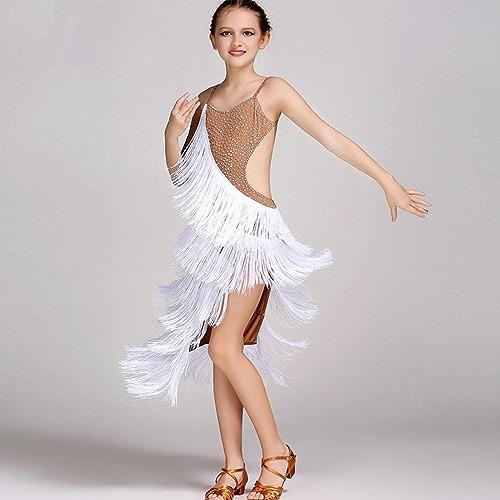 Wangmei Enfants Gland Costumes de Danse Latine Enfant Robe de Danse Latine Exécution Compétition Vêtements