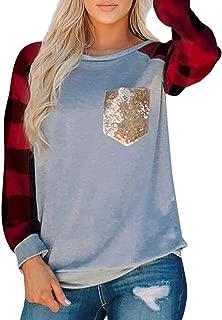 LIM&SHOP Women's Classic-Fit Long-Sleeve Crewneck T-Shirt Casual Color Block Pocket Shirt Blouse Sweatshirts Plaid Top