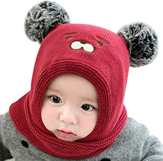 IMLECK Baby Girls Boys Winter Hat Scarf Earflap Hood Scarves Cute Bear Warm Beanie Cap