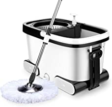 JUAN Stainless Steel Deluxe Rolling Spin Mop with 1 Microfiber Mop Heads,for Floor Cleaning, Wet and Dry Mop,Spin Mop Buck...