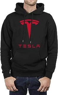 Mens Fleece Black Pullover Hoodies Sweatshirt Tesla Logo Symbol Emblem Fashion
