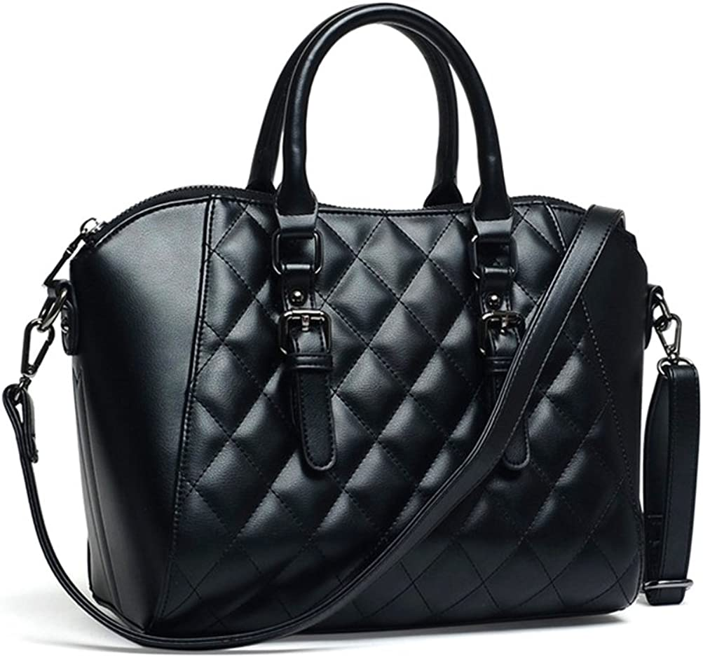 Mn&Sue Vintage Diamond Quilted Pattern Reversible Top Handle Satchel Shell Handbag Lady Purse