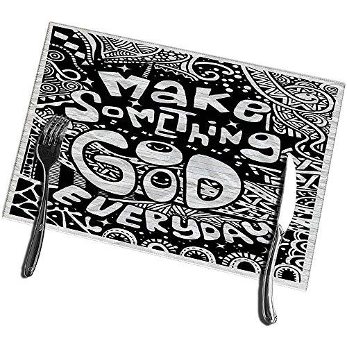 sunnee-shop Eetkamertafel, placemats, set van 4, maak elke dag iets goeds vintage