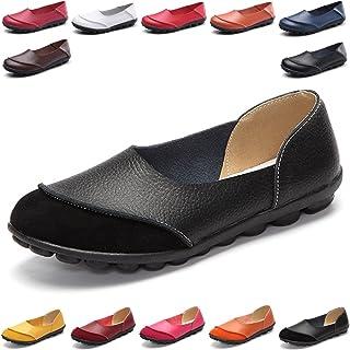 7a7541b3 Hishoes Mocasín de Cuero Mujer Loafers Cómodo y Antideslizante Barco Zapatos  para Mujer Zapatos de Conducción