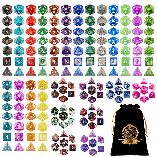 DND Dice Set, 25 X 7 Polyhedral Dice (175 Pieces) for Dungeons and Dragons DND RPG MTG Table Game D4 D6 D8 D10 D%D12 D20 25 Colors Dice with 1 Large Flannel Bag