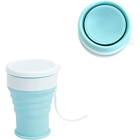 Yikko Silicone Collapsible Cup Foldable Cup Portable Pocket Size Coffee Cup Reusable Mug Expandable Drinking Cups with Lid for Travel Camping Water Tea 12OZ