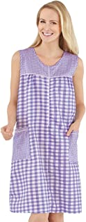 Half-Zip Front Sleeveless Pocket Dress with Checkered Pattern Design, Comfortable Loungewear for Around The House