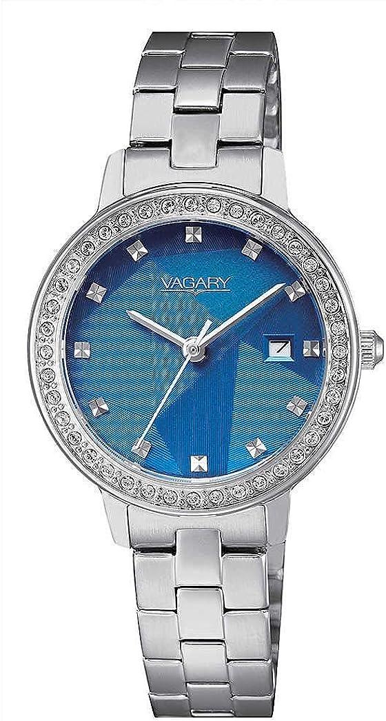 Vagary Reloj de Mujer de Acero Esfera Azul slo la Fecha y Hora IU1-417-71
