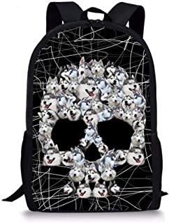 Coloranimal Punk Husky Skull Printed School Bags Children Laptop Backpacks (Color : Husky, Size : -)