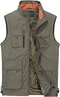 XXT Pocket Vest Polyester Fiber Men's Autumn and Winter Sports and Leisure Multi-Pocket Vest Practicality (Color : Khaki, Size : L)
